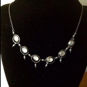 Modern Moonstone 925 Choker w Silver Pearls